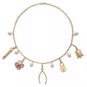 TORY BURCH • Heirloom Logo Charm Pearl Necklace